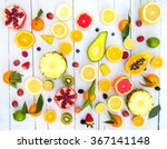 Mix Of Colored Fruits On White...