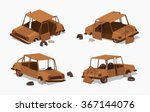 Old Rusty Car. 3d Lowpoly...