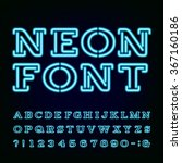 alphabet font. blue neon light... | Shutterstock .eps vector #367160186