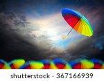 rainbow umbrella floating over... | Shutterstock . vector #367166939
