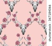 deer skull and pink  flowers ....   Shutterstock .eps vector #367184066
