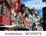 Swiss flags and colorful houses ...