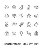Stock vector pet web outline icon set vector illustration 367194404