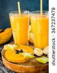 tropical smoothie with papaya... | Shutterstock . vector #367237478