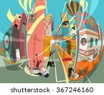 urban city fisheye landscape  | Shutterstock .eps vector #367246160
