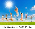 happy friends united success  | Shutterstock . vector #367250114