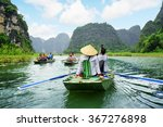 tourists traveling in boats... | Shutterstock . vector #367276898