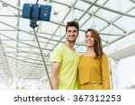 caucasian young couple use... | Shutterstock . vector #367312253