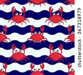Happy Crabs  Seamless Nautical...