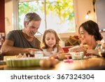 a four years old blonde girl is ... | Shutterstock . vector #367324304