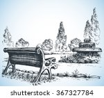 park sketch  a fountain and... | Shutterstock .eps vector #367327784