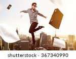 jumping businessman in front of ... | Shutterstock . vector #367340990