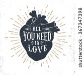 hand drawn textured romantic... | Shutterstock .eps vector #367347398