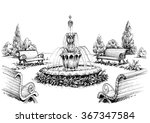 water fountain in the park | Shutterstock .eps vector #367347584