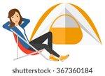 woman sitting in folding chair. | Shutterstock .eps vector #367360184