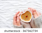 woman and man holds a cup of... | Shutterstock . vector #367362734