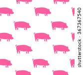 pig silhouette seamless pattern.... | Shutterstock .eps vector #367367540