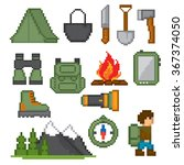 camping and hiking icon set.... | Shutterstock .eps vector #367374050