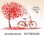 Valentine's day background with a bike and a tree made out of hearts. Vector. | Shutterstock vector #367383260