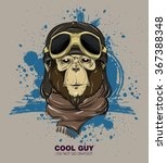 poster with portrait of monkey... | Shutterstock .eps vector #367388348