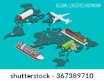 global logistics network flat... | Shutterstock .eps vector #367389710