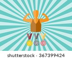 set of medals and athlete... | Shutterstock .eps vector #367399424