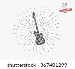 vector vintage guitar label... | Shutterstock .eps vector #367401299