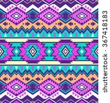 neon multicolor tribal navajo... | Shutterstock .eps vector #367418183