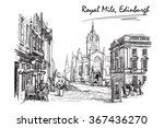 royal mile street panorama.... | Shutterstock .eps vector #367436270