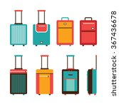 Colorful Travel Bag Icon Set...