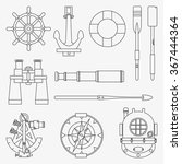 line marine icons set. nautical ... | Shutterstock .eps vector #367444364