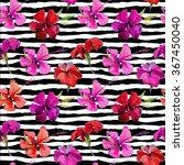 watercolor floral tropical... | Shutterstock . vector #367450040