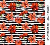 watercolor floral tropical... | Shutterstock . vector #367450064