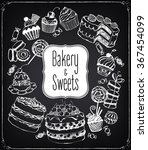 set of hand drawn pastries and... | Shutterstock .eps vector #367454099