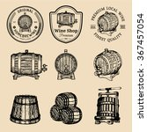 wooden barrels collection for... | Shutterstock .eps vector #367457054