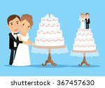 wedding cake with bride and... | Shutterstock .eps vector #367457630