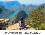 girl sitting on stone on the... | Shutterstock . vector #367503320