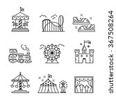 Theme amusement park sings set. Thin line art icons. Linear style illustrations isolated on white. | Shutterstock vector #367508264