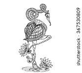 flamingo bird standing on lotus ... | Shutterstock .eps vector #367530809