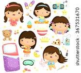 sleepover girl party vector set   Shutterstock .eps vector #367531670