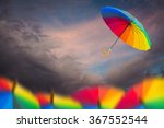 rainbow umbrella floating over... | Shutterstock . vector #367552544