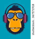 cool monkey with glasses and... | Shutterstock .eps vector #367571918