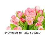 Pink Tulips Isolated On White...