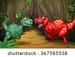 Two Dinosaurs By The Cave...