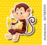 Cute Monkey Eating Banana...