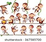 monkeys doing different actions ... | Shutterstock .eps vector #367585700