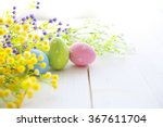 colorful easter eggs on wooden... | Shutterstock . vector #367611704