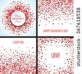 set of romantic red heart... | Shutterstock .eps vector #367618538