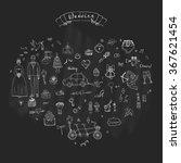 hand drawn doodle wedding... | Shutterstock .eps vector #367621454