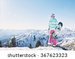 back view of female snowboarder ... | Shutterstock . vector #367623323